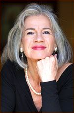 """The best accessory is that """"smile""""!  She looks beautiful and stylish even though she has grey hair. It's a beautiful shade of grey and a super hair cut! Susan Walker"""