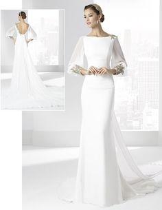 """Vestidos de novia con escote pico y falda línea """"A"""" de Franc Sarabia."""