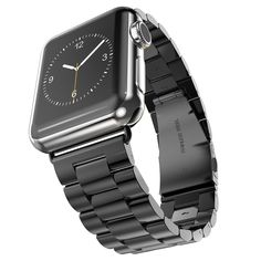 Apple iWatch Wrist Band, Strap, Polished Black Solid Stainless Steel, Replacement, New, 42mm, 6 Removable Links + Adapters, Sturdy Two Clasp Buckle System by Clixsy also Watch & Sport Edition