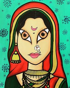 Indian Artwork, Indian Folk Art, Indian Art Paintings, Rajasthani Art, Unicorn Coloring Pages, Face Sketch, Krishna Art, Art Drawings Sketches, Bottle Crafts