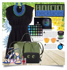 """""""Statement necklace"""" by budding-designer ❤ liked on Polyvore featuring Shany, Ricardo Rodriguez, Jil Sander, Schutz, MAC Cosmetics, Sugarpill, Anya Hindmarch, Urban Decay and statementnecklaces"""