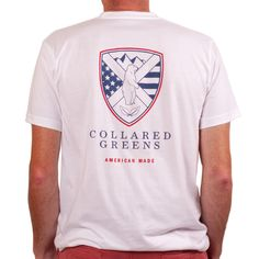 Collared Greens - Shield T-Shirt White GREEN BEAR American Made, $30.00 (http://www.collaredgreens.com/products/shield-t-shirt-white-american-made.html)