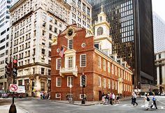 Old State House (1713), 206 Washington Street, Boston, Massachusetts. This is the oldest public building in Boston, the first elected legislature in the New World convened here, the site of the Boston Massacre and the first Massachusetts public reading of the Declaration of Independence.