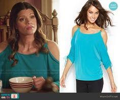 Xiomara's blue cold shoulder top on Jane the Virgin.  Outfit Details: http://wornontv.net/48615/ #JanetheVirgin