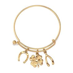 Reg 14.99 - In need of a little luck? Goldtone bangle with three charms. One size fits most. #avon #jewelry #bracelets #lucky For more Avon Jewelry, visit https://barbieb.avonrepresentative.com