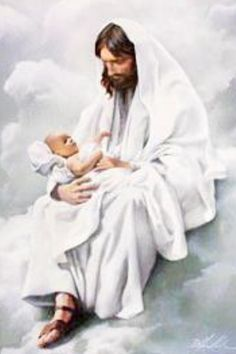 Jesus loves Children. This picture makes me think of Him holding my babies I lost <3 It is comforting.