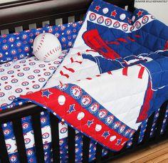 Texas Rangers MLB Crib Set With Bumper  #SportsCoverage #TexasRangers