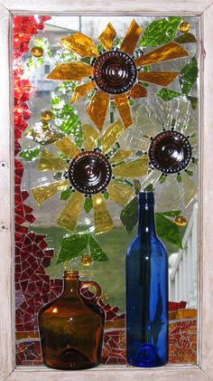 I could use the large sun glass pieces for the center of this project Window Sills Mosaic Garden, Mosaic Art, Mosaic Glass, Fused Glass, Stained Glass Art, Stained Glass Windows, Mosaic Windows, Broken Glass Art, Glass Design