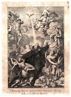 João Silvério CARPINETTI, 1740-1800 St. Augustin / S. PATRIARCHA AURELIUS AUGUSTINUS HIPPONENSIS EPISCOPUS, ET ECCLESIAE DOCTOR EXIMIUS [Visual gráfico] / Carp. sc., 1767. - [S.l. : s.n. 1767]. - 1 gravura : buril e água-forte, p&b ; 44,7x32 cm