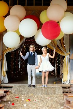 Ordinary party props become extraordinary with a simple scale shift. Balloons are balloons are balloons ¬–unless they're a whopping 36 inches wide! Smith recommends renting a helium tank from your local party-supply store, at a cost of roughly $100 a day, to inflate the oversize orbs. (Balloons, $2.34 each; balloons123.com.) - CountryLiving.com