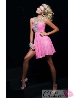 A Line V-Neck Beading Sequin Short/Mini Chiffon Homecoming Dress - Cocktail Dresses - Special Occasion Dresses - CDdress.com