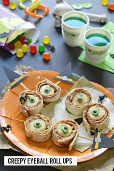 In a bind for your child's Halloween classroom party? Make these Creepy Eyeball Roll Ups; they serve up scary and healthy all in one.