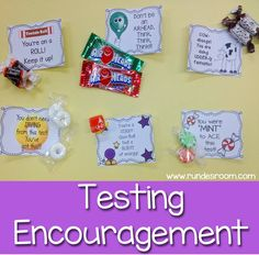 Some Sweet Testing Encouragement - free printable cards you can use during testing time for a little sweet encouragement.