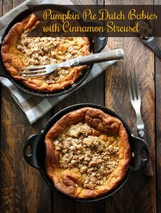 Pumpkin Pie Dutch Babies with Cinnamon Streusel - my favorite flavors of fall in one beautiful rustic puffy pancake. Dutch Baby Pancake, Puffy Pancake, Baby Food Recipes, Dessert Recipes, Cooking Recipes, Dessert Ideas, Amish Recipes, Dutch Recipes, Skillet Recipes