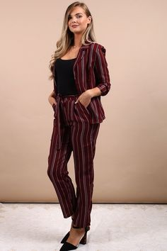Love these chic wine color trousers! These vertical striped slim fit pants are very comfortable and flattering. I can dress them up for work or the office by adding a nice blazer. This gives it a more professional and classy look. These bottoms are definitely a trendy staple in my wardrobe. Grab a pair for yourself in the Virgo Boutique Store! #trousers #work #outfits #office #womensfashion #luxury #fashion #inspiration Simple Outfits, Work Outfits, Casual Outfits, Fashion Outfits, Womens Fashion, Fashion Glamour, Luxury Fashion, Bardot Hair, Tie Waist Trousers