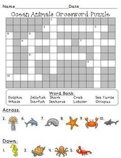 Whale Group Crossword : whale, group, crossword, Animal, Crossword, Ideas, Crossword,, Worksheets,, English, Worksheets