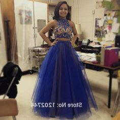 Halter Prom Dress with Beading,Two Pieces Prom Dress,Long Formal Party Gown,70425 by Dress Storm, $169.00 USD