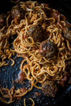 Local Milk | Homemade Spaghetti & Bison Fennel Meatballs with Porcini Truffle Sauce