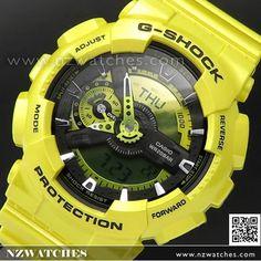 Casio G-Shock Bold Metallic Yellow Hue Analogue Digital Sport Watch GA-110NM-9A, GA110NM