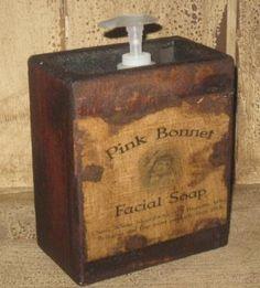 "Large Soap Box - ""Pink Bonnet Facial Soap, Black""-soap boxes, wood holders for soap, bathroom soap dispensers, primitive, early prim,"