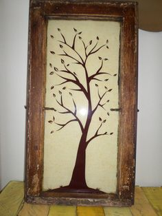 Old Window Decor Tree Rustic Reclaimed Nature Vintage Art Wall Picture Shabby Chic