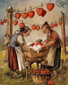 Sweet vintage art of two ladies washing hearts Vintage Cards, Vintage Postcards, Vintage Images, Art And Illustration, Art Fantaisiste, Art Mignon, Jolie Photo, Vintage Valentines, Heart Art