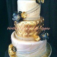 Luxurious - Cake by HottCakez of Las Vegas Tall Wedding Cakes, Bling Wedding Cakes, Amazing Wedding Cakes, Amazing Cakes, Gold Wedding, Beautiful Cupcakes, Gorgeous Cakes, Luxury Cake, Just Cakes