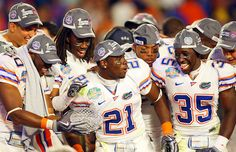 Florida Gators received the Crystal football as BCS Champs.