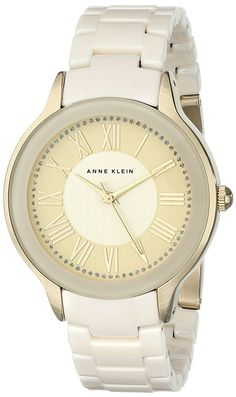 Anne Klein Women's AK/1948IVGB Gold-Tone and Ivory Watch with Ceramic Bracelet * Read more reviews of the watch by visiting the link on the image.
