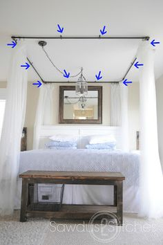 Diy Canopy add some string lights to create an extra whimsical effect. | diy