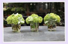 small simple green hydrangea centerpieces