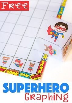This superhero graphing free printable is a fun way for preschoolers to learn about graphs. You can also use this simple graph to work on counting, greater than/less than, and probability. You'll have a math superhero in no time! Superhero Preschool, Superhero Classroom, Preschool Math, Kindergarten Math, Superhero Superhero, Numbers Preschool, Classroom Themes, Graphing Activities, Math Activities For Kids