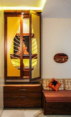 9 Wooden Pooja Mandir Designs for Homes -- Traditional, Portable & Sofa Bed Design, Living Room Sofa Design, Living Room Designs, Bungalow House Design, House Front Design, Temple Design For Home, Mandir Design, Pooja Mandir, Wardrobe Door Designs