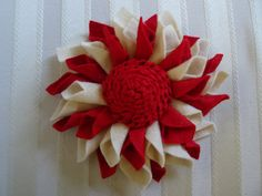 Exquisite Large Christmas Wool Felt Dahlia Brooch/Pin by Leophonse