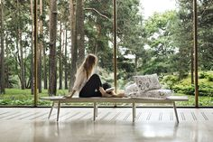 Inspirational image - The most comprehensive selection of Finnish and Scandinavian design online. All in-stock items ships within 24 hours! Scandinavian Kitchen, Scandinavian Design, Tree Table, Hemp Fabric, People Sitting, Sun Lounger, Free Association, Turku Finland, People People