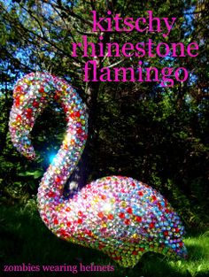 kitschy rhinestone flamingo I need a dozen of these. Just need the flamingos since I have a huge bin of gems and Diy Garden, Garden Crafts, Garden Ideas, Like A Rhinestone Cowboy, Rhinestone Art, Diy Projects To Try, Craft Projects, Craft Ideas, House Projects