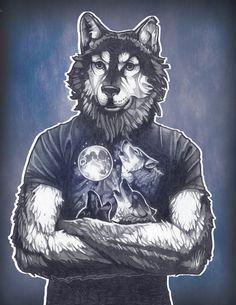 Four Wolf Moon Art Print by Tim Shumate - Wolf Moon, Moon Print, Artwork Design, Retro Art, Werewolf, Folk Art, Character Design, Art Prints, Illustrations