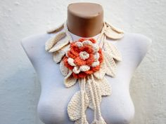 Removeable Brooch Pin Handmade  crochet Lariat Scarf   by nurlu, $20.00