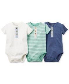 Carter's Baby Boys' 3-Pack Henley-Style Short-Sleeve Bodysuits - Kids & Baby - Macy's