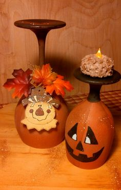 Dollar Store wine glasses turned fall candle holders - Fall Candles - Ideas of Fall Candles Wine Glass Crafts, Wine Craft, Wine Bottle Crafts, Wine Bottles, Thanksgiving Crafts, Fall Crafts, Holiday Crafts, Halloween Crafts, Halloween Decorations