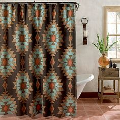 Bring a truly Southwest feeling to your bathroom& d?cor with the Suba shower curtain. It has a classic, yet modern Southwestern design reminiscent of Native American rugs in warm desert shades all printed on richly textured cotton fabric. Southwestern Home, Southwestern Decorating, Southwest Decor, Southwest Style, Southwestern Curtains, Southwest Kitchen, Western Kitchen, American Interior, Western Style