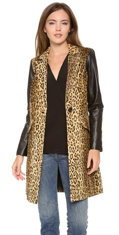 Milly Leather Sleeve Leopard Print Coat