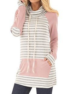 f075178d2191 Womens Long Sleeve Stripe Sweatshirts Cowl Neck Casual Slim Tunic Tops With  Pockets