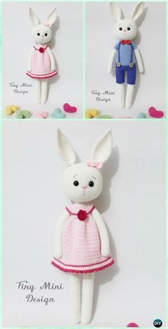 Crochet Amigurumi Cracker Bunny Toy [Girl&Boy] Free Patterns #Crochet;