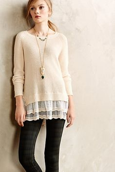Like the combo of the knit and the lace. Curtainhem Pullover - anthropologie.com