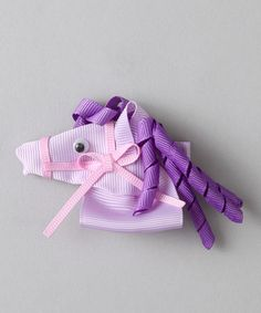 Bubbly Bows White & Pink Horse Clip | Daily deals for moms, babies and kids