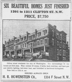 1910 Ads for Clifton St. Homes in Columbia Heights http://j.mp/1NVMMiR