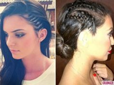 Kendall Jenner and Kim Kardashian matching corn rows New Hair Look, Love Hair, Cute Cornrows, Medium Hair Styles, Curly Hair Styles, Side Plait, Side Braids, Kim Kardashian Hair, Celebrity Beauty