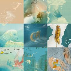 A collection of my recent favourite dreamy illustratios. Whimsical and dreamy atmospher. Sign Printing, All Art, Illustrations Posters, I Shop, Whimsical, My Favorite Things, Creative, Prints, Painting