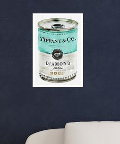 A riff on Andy Warhol's tomato soup art, this one is Tiffany & Co Diamond Soup! Yum! Priceless Can Print on #zulily! #zulilyfinds